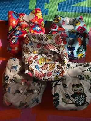 5 Little bloom pocket reusable cloth nappies bundle USED with inserts