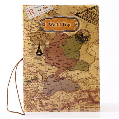 Passport Holder ID Card Cover Case Organizer World Trip Map Faux Leather BS