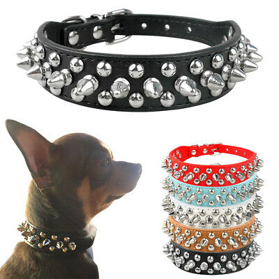 Pet Adjustable PU Leather Studded Spiked Buckle Cat Puppy Dog Collar Rivet Strap