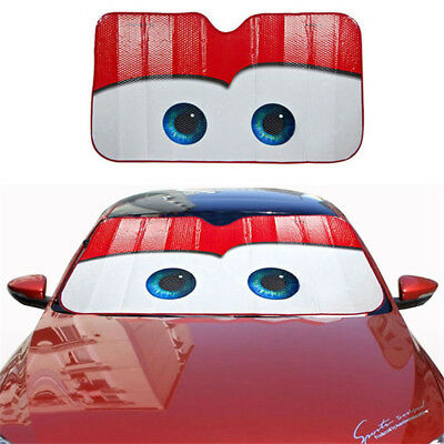 Red Aluminium Cartoon Car Windshield Sun Shade Big Eyes Cars Front Visor Window