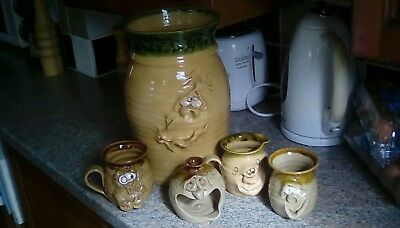 Vintage Ugly Pottery Wales.A Mug, Milk Jug, Beaker, Nite Lite Holder and VASE!