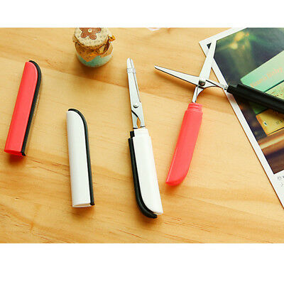 Portable Paper Cutting Tools Folding Safety Scissors with Cover Stationery