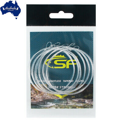 SF 6 packs 9FT-2X Fly Leader Pre-tied Loop Fly Fishing Tapered Leader Fly Line