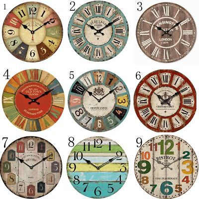 Chic Large Antique Round Wall Clock Vintage Style Art Decor Home Room Decor