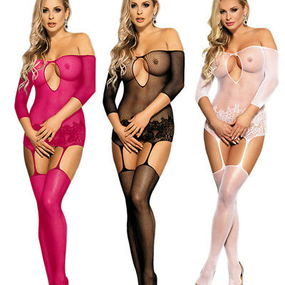 Sexy Lingerie Fishnet Open Crotch Corest Floral Bodystocking Bodysuit Tights