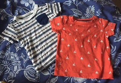 2 x NEXT Baby Boys TShirts - Size 3-6 Months - Red, Blue & White Sailor Boats