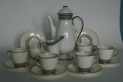 Royal Doulton ART DECO Coffee Service for 6 - H4244 / V1748 Silver Bands 1934
