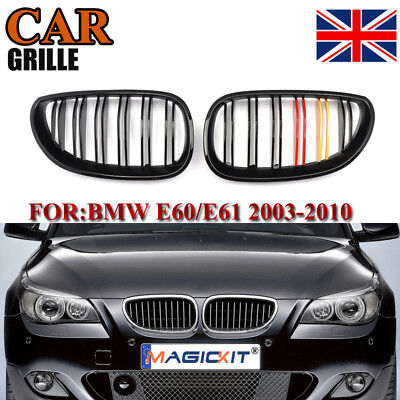 Front Gloss Black M-Color Kidney Grill Grille For BMW E60 E61 5 SERIES 03-10 UK
