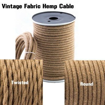10m Twisted/Round Vintage Hemp Fabric Coloured Lighting Cable Flex 3 Core 0.75mm