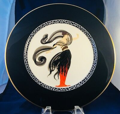 """'erte' """"flames D'amour"""" Collector Charger Plate Bone China - Japan 1985-Signed"""