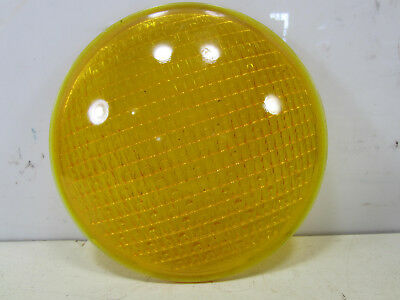 "Vintage 8 3/8"" Crouse-Hinds Yellow Glass Traffic/Railroad Lens #2"
