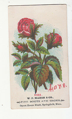 W P Marsh & Co Boots Shoes Springfield MA Rose LOVE  Vict Card c 1880s