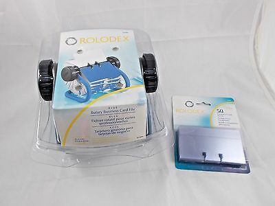 Rolodex Blue Rotary Business Card File w/ 50 Transparent Sleeves
