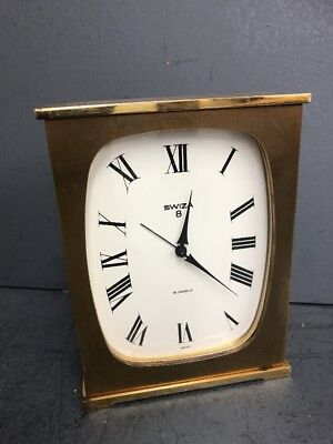 Old Vintage Swiss SWIZA Alarm Clock - Carriage Clock - 8 Day - Solid Brass