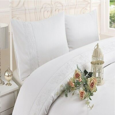 Luxury Estella Duvet Cover Set, Embroidered Quilt Cover With Pillowcases WHITE