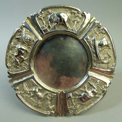 Antique Indian Silver (Tested .925) Ornate Ash Tray C.1890 101 Grams