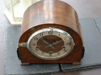 Antique Vintage Enfield  Mahogany Chiming Mantle Clock