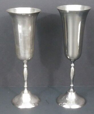 """Vintage Silver Plate/Silver ? Wine Goblets Cups - Set Of 2 - 6 Oz - 8 1/2"""" Tall"""