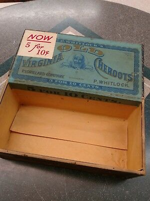 Antique Old Virginia Cheroots Wood Cigar Box Tobacco Black Americana Uncle Remus