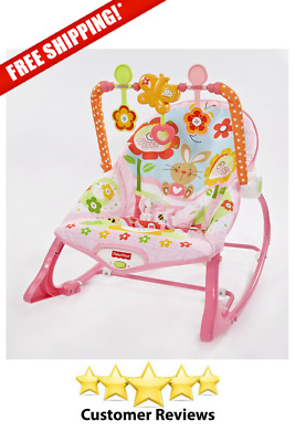 Fisher Price Infant To Toddler Rocker Pink Bunny Pattern Bouncer Chair