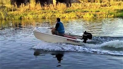 Microboat speedboat dinghy tender with 4hp Suzuki outboard & road trailer