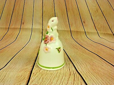 """Avon 1984 Easter Bunny Ceramic Bell with Pink Flower Clapper 3 1/2"""" Tall (ED05)"""