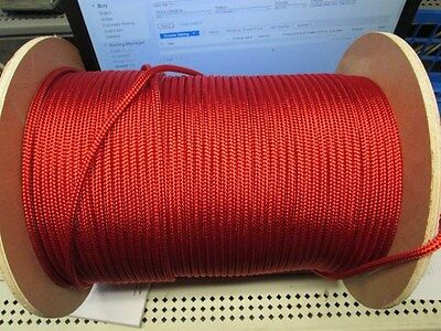 """1/4"""" X 80' Sail,Halyard Line,Jibsheets,double braid rope Scarlet Red,USA 2100lb"""