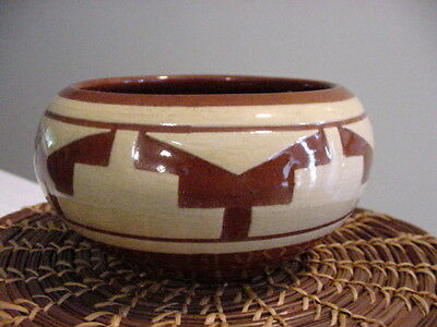 Pine Ridge Sioux Indian Pottery Native Small Sugar Dish Pot Signed E Irving