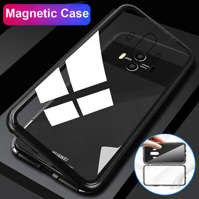 Magnetic Metal Case for Huawei P20 Lite/Mate 10 Pro P10 Plus Metal Glass Cover