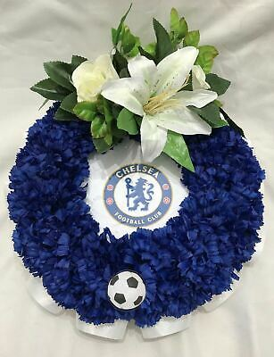 Artificial Silk Funeral Flower Football Posy Pad Any Blue Team Tribute Dad Uncle