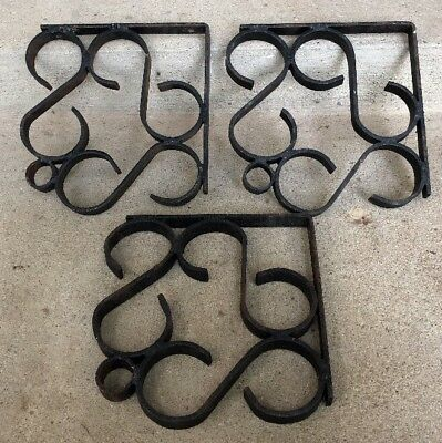 Vintage Hand Made HEAVY DUTY Wrought Iron Shelf Bracket Display Set Of 3 Scroll