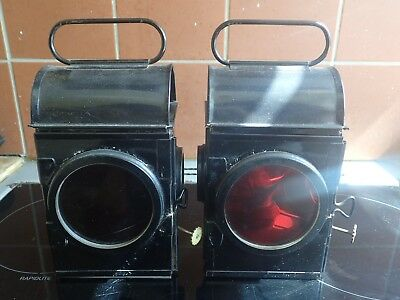 Antique Pair Of Railway Lamps (good Condition)