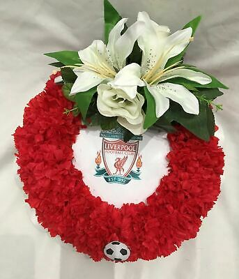 Artificial Silk Funeral Flower LFC Football Posy Pad Tribute Wreath Any Team