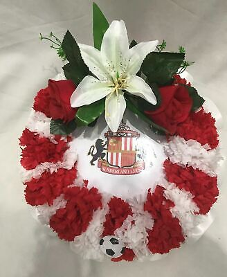 Artificial Silk Funeral Flower Football Posy Pad Any Team Red Memorial Tribute