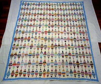 Vintage 1930's Handmade Hand Stitched Feed Sack Fabric Diamonds Quilt - 85x75