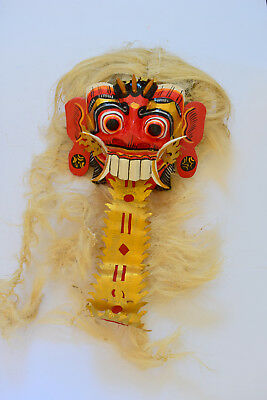 Hand-Carved Wooden Balinese Art Demon Mask Bali Indonesia Barong Raksasa Randga