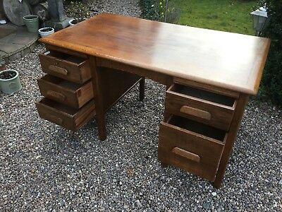 Antique Oak Durrant Desk 6 Drawers Vintage Haberdashery Book Rests Mid Century