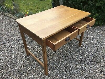 Antique Oak Desk 2 Drawers Vintage Haberdashery Stunning Looking Mid Century