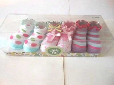 Little Me Sock Sets Baby girls socks Girls fancy socks 3 Pairs 0-12 Mos