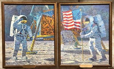 A  Distant Celebration Alan Bean Apollo 11 2 Signed Giclee Canvas & Signed  Book