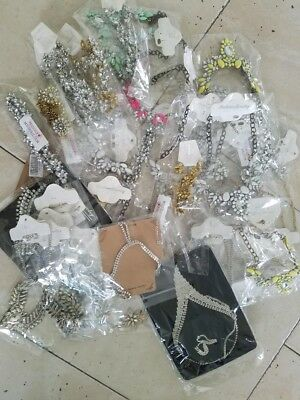 Wholesale Lot Of 120 Pairs Mix Bridal Bridesmaid Crystal Statement Necklaces
