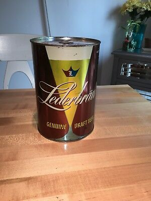 Lederbrau Genuine Draft Gallon Beer Can Atlantic Brewing Co Chicago Flat Top Can