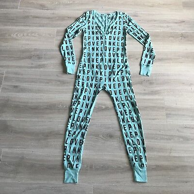 Victoria Secret Teal One Piece Love Logo Pajamas Size S I Only Sleep In PINK