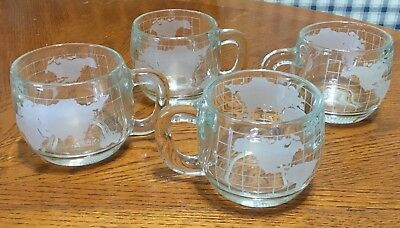 4 Vintage 1970'S Glasss World Globe Coffee Cups Mugs Nestle Nescafé