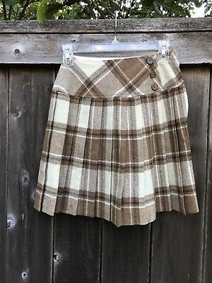 Vintage Brown Plaid Wool School Girl Skirt By JR Bazaar For Sears Robuck And Co