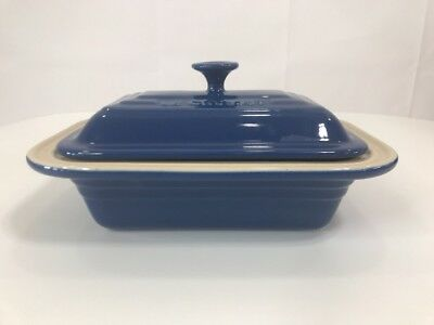 Le Creuset French Cookware Stoneware Covered Rectangular Blue Dish Vintage Kitch