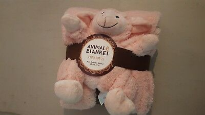 Silver One Sherpa Animal And Blanket Set soft pink brand new