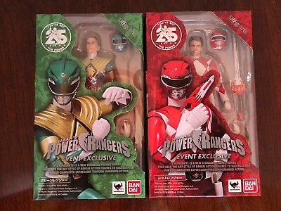 Tamashii S.h. Figuarts Red And Green Power Rangers Sdcc 2018 Exclusive Bandai