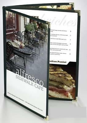 """GREEN TRIPLE PANEL BOOKLET - 6-VIEW - 8.5"""" x 14"""" DOUBLE-STITCHED MENU COVERS"""
