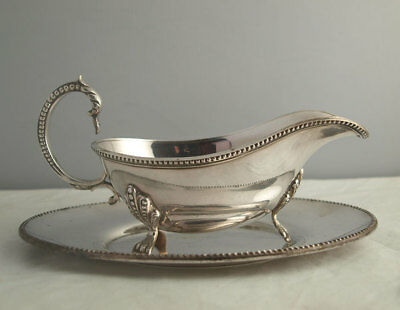 Elegant Vintage Silver Plated Sauce Boat And Stand